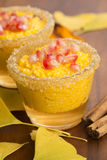 Pumpkin pudding with tapioca pearls Stock Photo