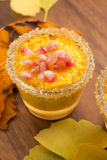 Pumpkin pudding with tapioca pearls Royalty Free Stock Photo