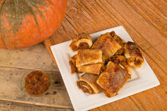 Pumpkin puff pastry. Puff pastry stuffe with pumpkin, a homemade dessert Stock Photos