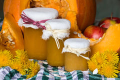 Pumpkin and pumpkin jam, puree or sauce on green with white tablecloth. Autumn still life Stock Photography