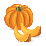 Pumpkin and pumpkin slice. On white background Stock Photography
