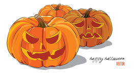 Pumpkin. Pumpkins on Halloween. Isolated on white, vector illustration vector illustration