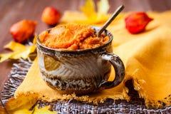 Pumpkin puree. In a bowl Stock Photos