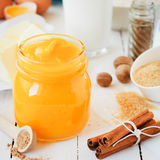 Pumpkin Puree Surrounded with Pumpkin Pie Ingredients Stock Photo