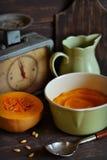 Pumpkin puree in a vintage skillet Stock Image