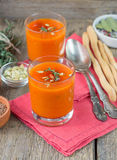 Pumpkin pureed soup in cups Royalty Free Stock Photo