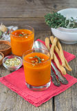 Pumpkin pureed soup in cups Royalty Free Stock Image