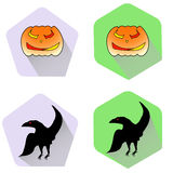 Pumpkin and raven halloween flat icons Stock Photos