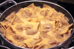 Pumpkin ravioli cooked in pot Stock Photos
