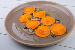 Pumpkin ravioli dish Royalty Free Stock Photography