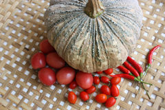 Pumpkin and red garden vegetables Royalty Free Stock Image