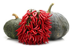 Pumpkin and red Hot Chili Royalty Free Stock Image