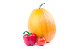Pumpkin, red pepper and tomato Royalty Free Stock Photography