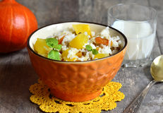 Pumpkin with rice,dried fruits and mint. Stock Photography