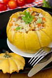 Pumpkin with rice and meat Royalty Free Stock Images