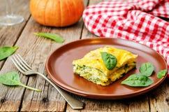 Pumpkin ricotta spinach lasagna Stock Photos