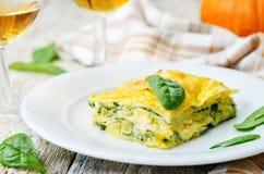 Pumpkin ricotta spinach lasagna Royalty Free Stock Images