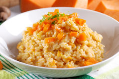 Pumpkin risotto on the plate Royalty Free Stock Photography