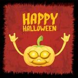 Pumpkin rock n roll style halloween greeting card Royalty Free Stock Photo