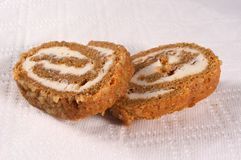 Pumpkin Roll. Lower angle of 2 pieces of pumpkin roll laying ao a paper towel Stock Images
