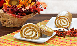Pumpkin Roll Cake in an Autumn setting. Stock Photography