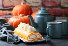 Pumpkin roll cake Stock Images