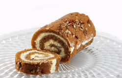 Pumpkin Roll on Cake Platter Stock Images