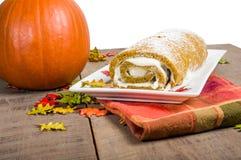 Pumpkin roll with cream center Stock Photos