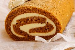 Pumpkin roll Fall Halloween and thanksgiving dessert Royalty Free Stock Image