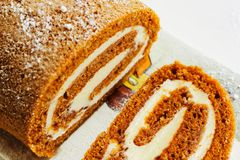 Pumpkin roll Fall Halloween and thanksgiving dessert Stock Photos