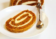 Pumpkin roll Fall Halloween and thanksgiving dessert Royalty Free Stock Photo