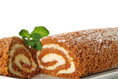 Pumpkin roll upclose with mint. Shot of a pumpkin roll upclose with mint Stock Photo
