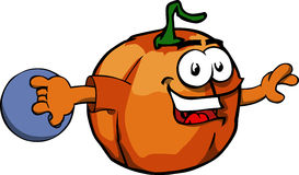 Pumpkin rolling a bowling ball Royalty Free Stock Photo