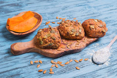 Pumpkin round small bread buns Royalty Free Stock Photography