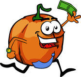 Pumpkin running with money Royalty Free Stock Image