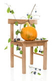 Pumpkin On Rustic Chair Stock Photos