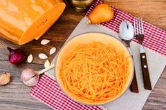 Pumpkin salad, salt, sugar, onion, garlic, vegetable oil, balsam Stock Images