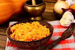 Pumpkin salad, salt, sugar, onion, garlic, vegetable oil, balsam Royalty Free Stock Photography