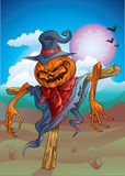 Pumpkin-scarecrow with background halloween Stock Photography
