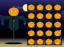 Pumpkin Scarecrow Cartoon Emotion faces Vector Illustration Royalty Free Stock Photos