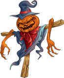 Pumpkin-scarecrow halloween isolated Royalty Free Stock Image