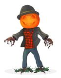 Pumpkin scarecrow. Illustration for the holiday Halloween Stock Photos