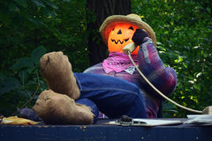 Pumpkin Scarecrow Office Royalty Free Stock Photo