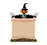 Pumpkin and scarecrow parchment Royalty Free Stock Photos