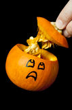 Pumpkin Scared to See His Insides Stock Images