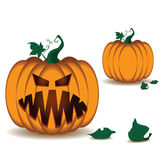 Pumpkin scary face of Happy Halloween  on white background. Royalty Free Stock Photo