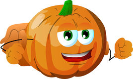 Pumpkin with school bag Stock Photo