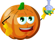 Pumpkin scientist holds beaker of chemicals Royalty Free Stock Images