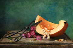Pumpkin with scissors Royalty Free Stock Photos