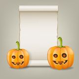 Pumpkin and scrolled paper. Vector illustration. Stock Images